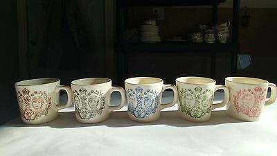 Mason's Set of 5 DIfferent Coloured Royalty Mugs of Prince Charles & Lady Diana