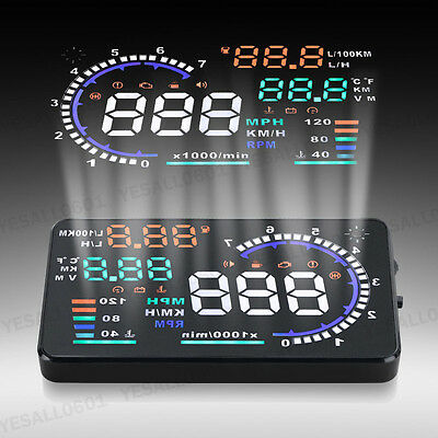 "5.5"" Car Windshield OBD2 Cable HUD Head Up Display Speedometer Fuel Warning Box"