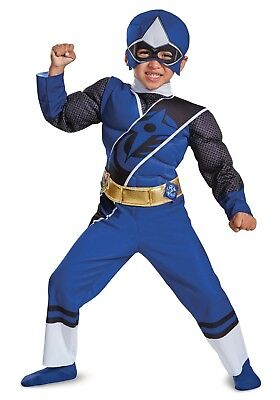 New boys 3T 4T toddler Power Rangers Blue muscles Halloween Costume play