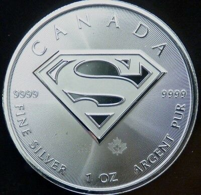 Canada 2016 Superman Shield Logo 1 Troy Oz .9999 Fine Silver Coin Maple Leaf