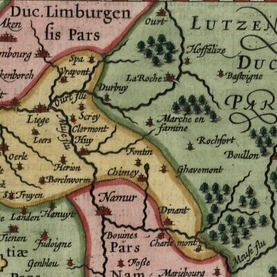 Belgium Liege Diocese Low Countries 1616 Bertius old miniature map hand color