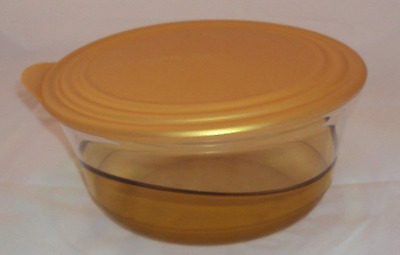 New Tupperware Sheerly Elegant 6 1/2 cup Illusions Bowl & Seal Amber Gold