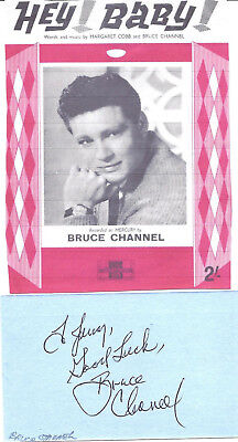 Bruce Channel - Rockabilly Hof -Authentic And Genuine Hand Signed/inscribed Card