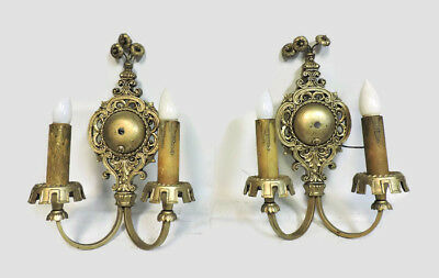 "Amazing Antique Victorian Matching Lot Of 2 Pair Large 14"" Wall Sconces Restored"