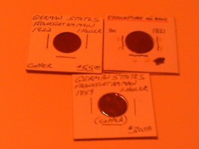 Rare Group Lot 3 German States Coins Frankfurt Am Main 1821 1822 1859 1 Heller