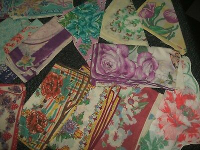 Large Lot Of Vintage Handkerchiefs For Crafter/collector  Colorful Cotton Lot