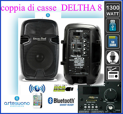 2 CASSE amplificate 1300 WATT Sound Bluetooth USB RADIO FM KARAOKE PC DELTHA-8