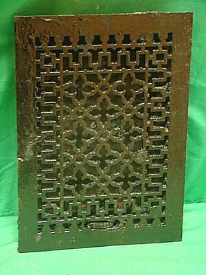 Antique Black Cast Iron Heating Grate Unique Ornate Design 13.75 X 9.75 Jh
