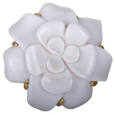 Chanel Camellia 18K Yellow Gold White Onyx Large Flower Brooch