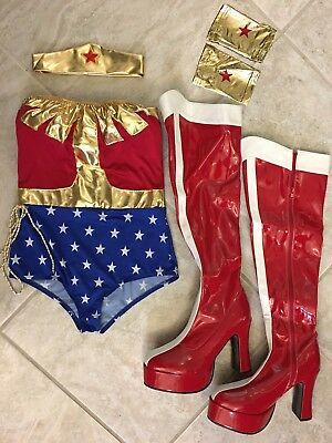 Women's Wonder Woman Costume M/L with Accessories- Cosplay, boots, tiara,cuffs,
