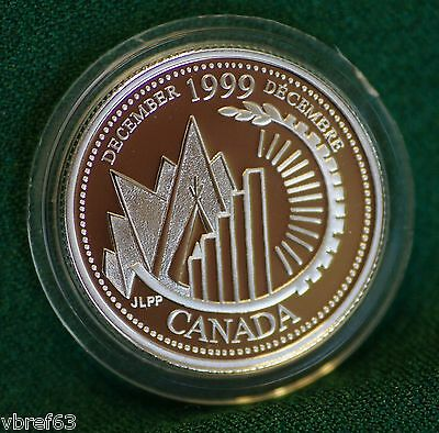 1999 CANADA Millennium Sterling Silver Quarter for December in proof finish