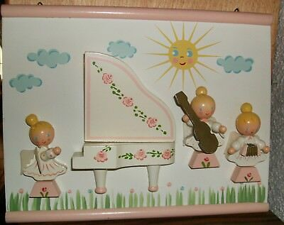 Vtg Irmi Baby Wooden Wall Hanging Plaque Girl Angels with Musical Instruments