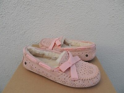 148d41f1582 UGG DAKOTA SUNSHINE Perf Suede/ Sheepskin Moccasin Slippers, Us 11/ Eur 42  ~ Nib