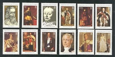 ROYALTY, BRITISH MONARCHS ON TRISTAN DA CUNHA 2000 Scott 647-658, MNH