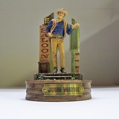 """Franklin Mint John Wayne  """"the Legend Lives On"""" Hand Painted Figurine With Dome"""