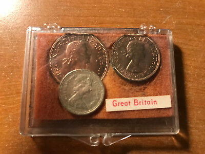Lot of (3) 1963 Great Britain Coins One Pound Coin 1p 1/2p in Plastic Case