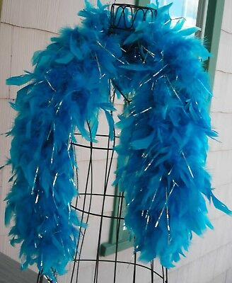 Feather and Sparkle Boa Turquoise and Silver Sparkle for child's dress-up