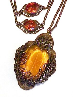 Great Old Vintage Art Deco Czech Amber Glass Brass Filigree Necklace Antique $Nr