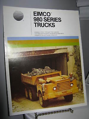Eimco 980 Series Trucks Mining - 8 Page Sales Ad Brochure 1980 - VG