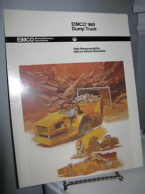 Eimco 985 Dump Truck Mining - 3 Panel Fold-out Sales Ad Brochure - VG