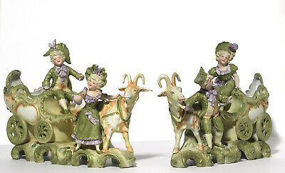 Antique Large Matching Pair Goat Carriage Figurine Group