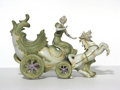 Large Antique  Carriage and Horses - Figurine Group