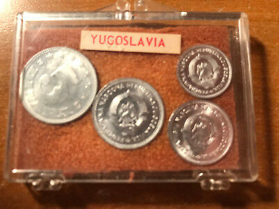Lot of (4) Yugoslavia Coins 1953 Yugoslavian 4 World Coin Set in Plastic Case