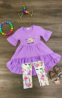 Boutique Toddler Girl Purple Unicorn Ruffle Tunic Top Legging Birthday Outfit