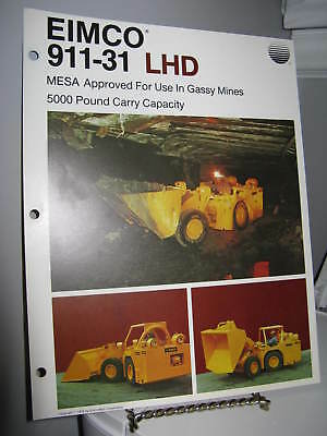 Eimco 911-31 Load-Haul-Dump Mining - Single Page Sales Ad Brochure - VG