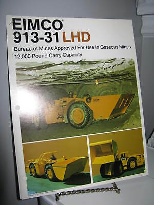 Eimco 913-31 Load-Haul-Dump Mining - Single Page Sales Ad Brochure - VG