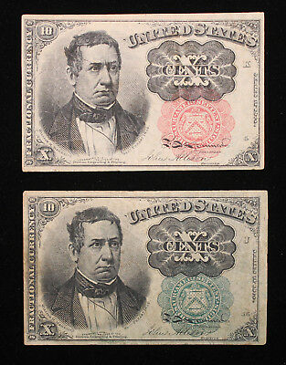 10 Cent 5th Issue Fractional notes  Red Seal and Green Seal