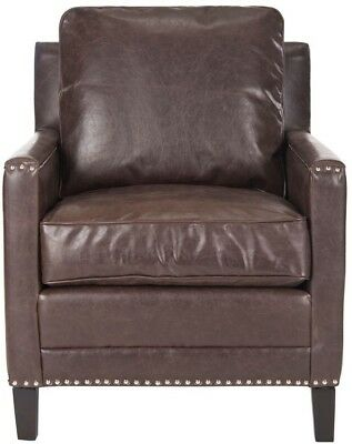 Arm Chair Faux Leather Wood Frame Antique Brown/Espresso with Removable Cushions