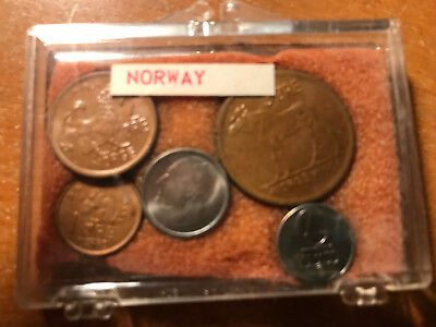 Lot of (5) 1964 Norway Coins Norweigan World Coin Set in Plastic Case
