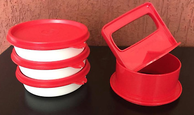 """Tupperware Hamburger Press & Stackable Keepers Set w/ Seals Red Small 3-5/8"""" NEW"""
