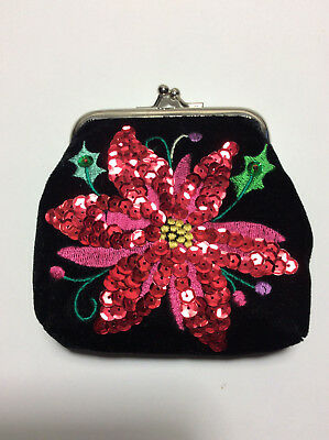 Small Velvet and Sequined Purse/Cosmetic Case/Jewelry Pouch