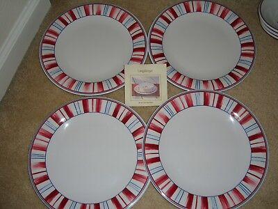 LONGABERGER Melamine Stars and Stripes Casual Dinner Plates - Set of 4 - NEW