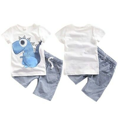 2pcs Toddler Baby Kids Boys Summer T-shirt Tops+Shorts Pants Outfits Clothes Set