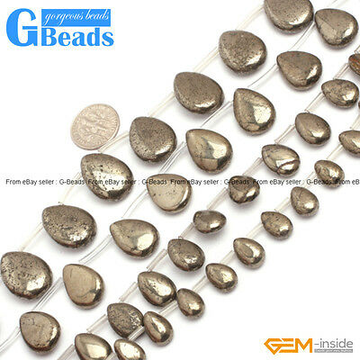 """Silver Gray Pryite Gemstone Teardrop Beads For Jewelry Making Free Shipping 15"""""""