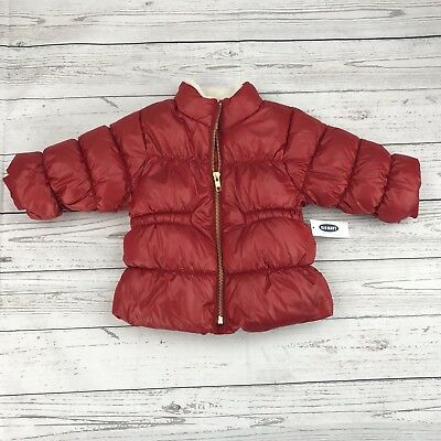 Old Navy Baby Boy Coat 6 12 Months Puffer Red Fleece Lined Jacket Winter New