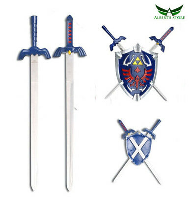 "Legend Of Zelda Hylian 8.5"" Shield & 17"" Link Swords Wall Display New Set"