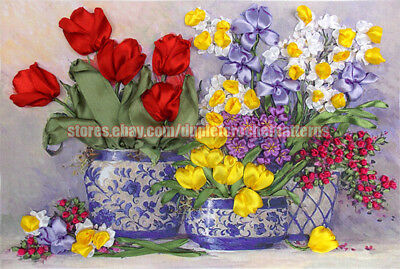 Spring Tulips ribbon embroidery DIY kit wall room decor