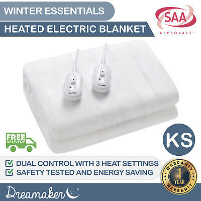 King Single Soft Electric Heating Blanket Bed Underlay Protector Fully Fitted