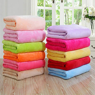 Super Soft Solid Warm Micro Plush Fleece Blanket Throw Rug Sofa Bedding Decor