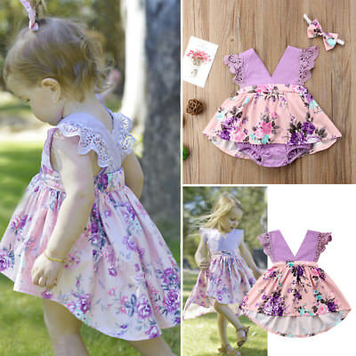 Newborn Baby Kids Girl Sister Matching Floral Clothes Romper Dress Skirts Outfit