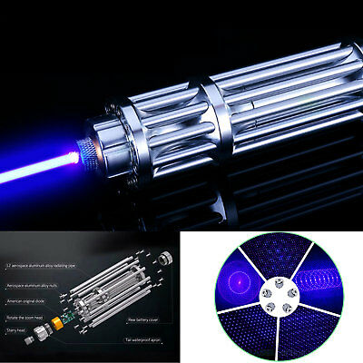 Blue Laser Pointer Match Burning Beam Lights Pen and 5 Star Caps High-Power