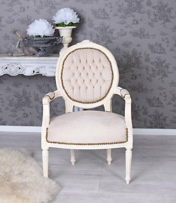 barocker sessel louis xv bergere creme barockstuhl shabby chic eur 208 99 picclick de. Black Bedroom Furniture Sets. Home Design Ideas