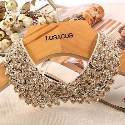 Vintage Gold knitted cloth Ribbon Fake collar Sequin bead statement Necklaces
