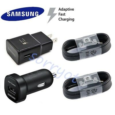 Lot Original Samsung Galaxy S9 S9 plus Fast Car Wall Charger 4FT Type-C Cable BK