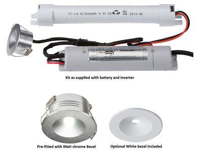 3W LED Emergency Downlight Non Maintained Recessed Silver Chrome White Battery