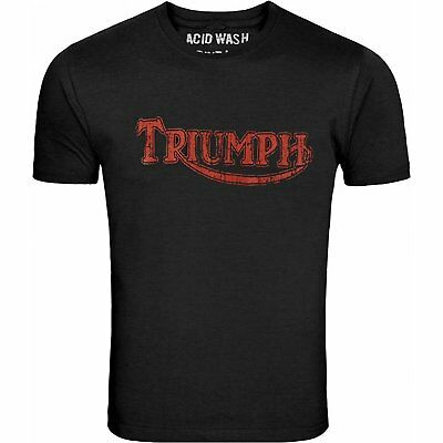 Triumph Motorcycles Red Logo Biker Tee Chill Black T-Shirt Motorbike Sizes S-5Xl
